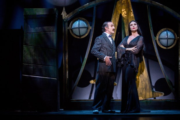 Cameron Blakely as Gomez Addams and Samantha Womack as Morticia Addams in THE ADDAMS FAMILY. Credit Matt Martin