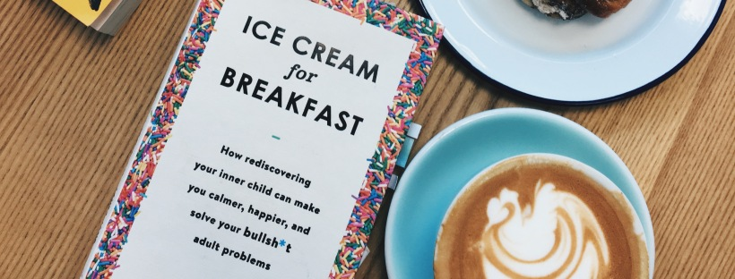 Laura Jane Williams's book, Ice Cream for Breakfast, on a coffee table with a coffee