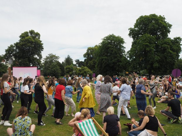 People dancing to an outdoor disco