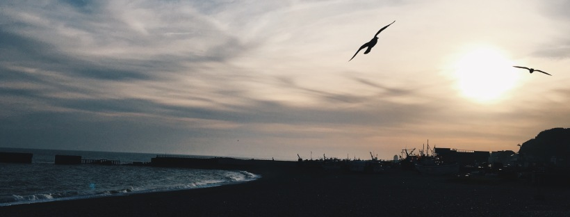 hastings beach at sunset