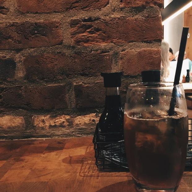 A brick wall in a restaurant