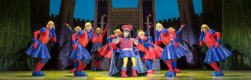 Lord Farquaad dances with the people of Duloc in Shrek the Musical