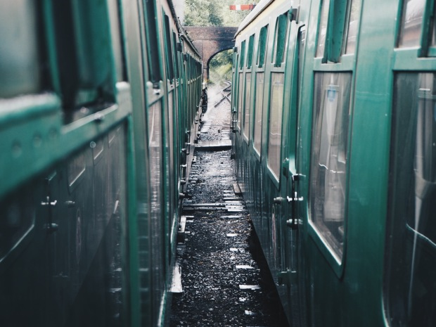 Looking down the length of a steam train