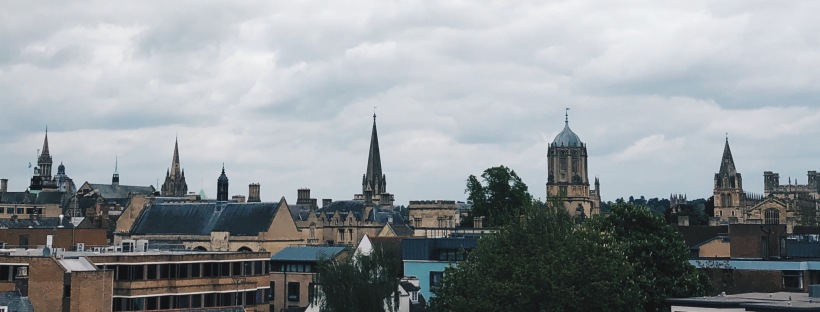 The oxford skyline against a grey sky