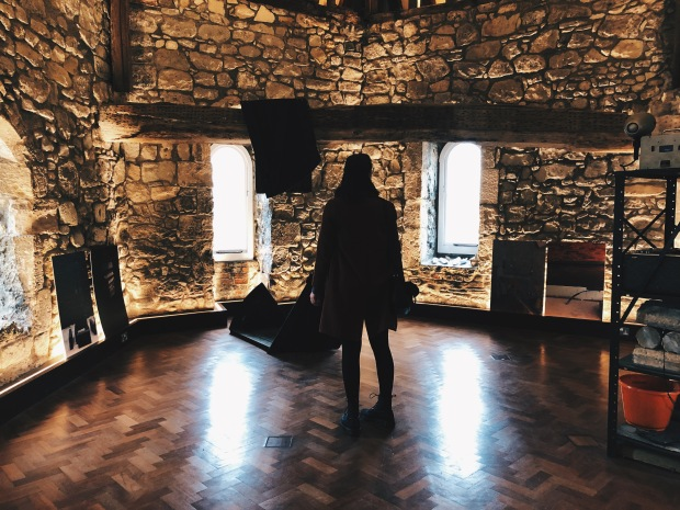 Silhuette of a woman in a castle-style room
