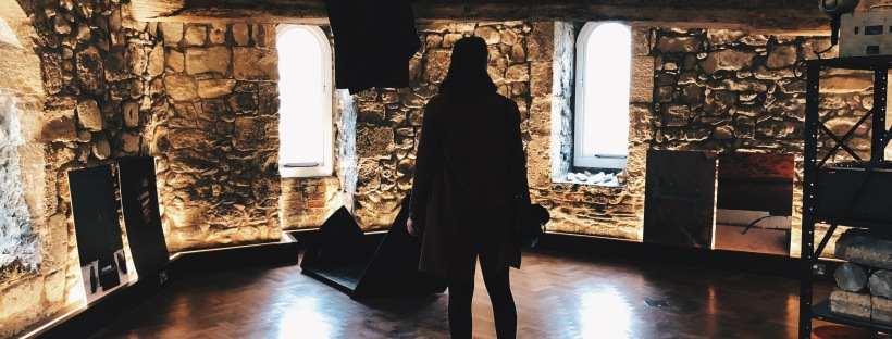 Silhouette of a woman in a castle-style room